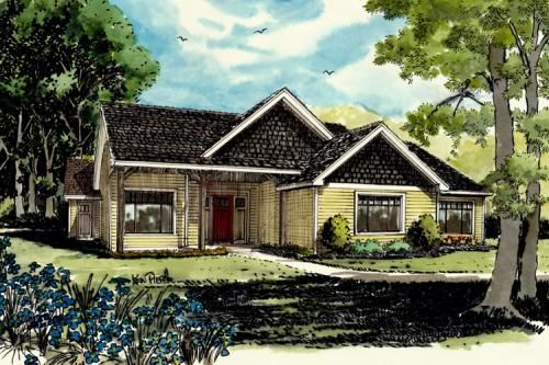 House Plan 1907-00004 - Cabin Plan: 1,416 Square Feet, 3 Bedrooms, 2 Bathrooms