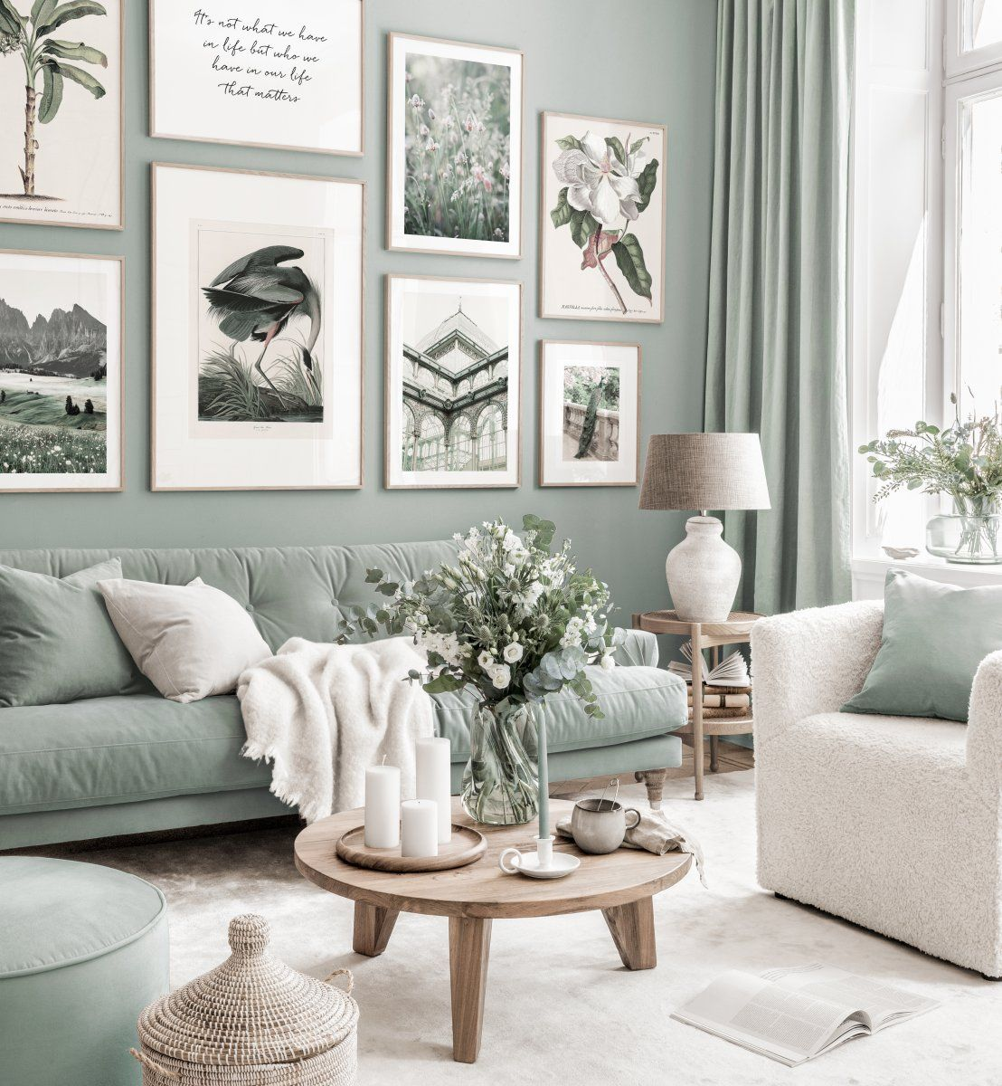Stylish Gallery Wall Art Mint Green Living Room Illustration Posters Oak Frames Green Walls Living Room Living Room Illustration Living Room Green Picture for living room