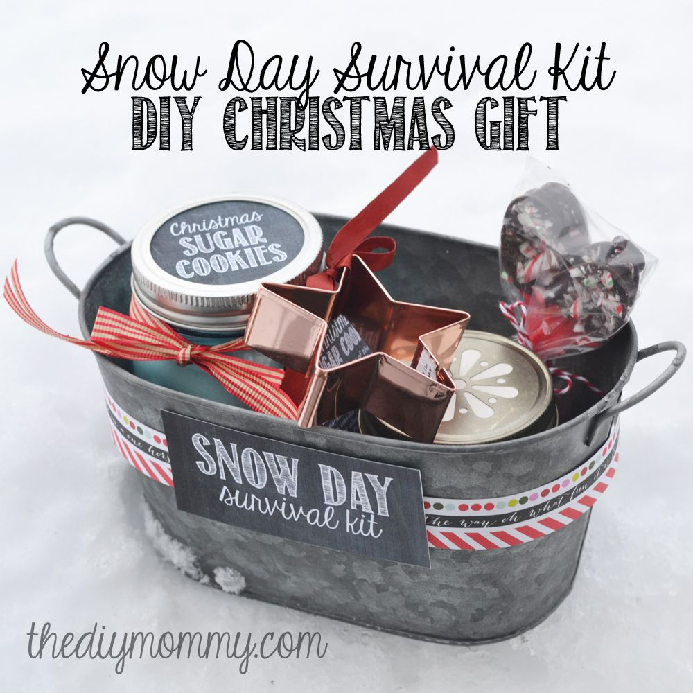 Diy christmas gift baskets that anyone will love basket ideas diy snow day survival kit christmas gift sugar cookies in a jar a cookie cutter hot chocolate mix in a jar and hot chocolate spoons solutioingenieria Choice Image