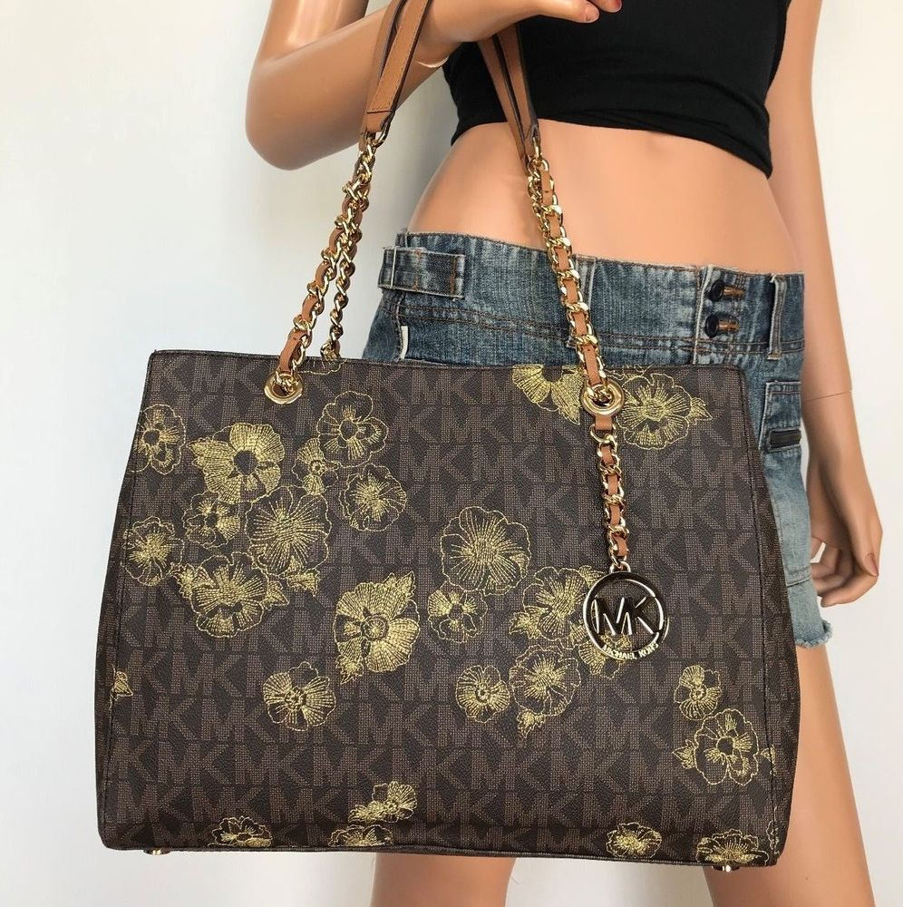 f5fa588d4599 NWT Michael Kors Susannah Large Tote PVC Leather Chain handbag Brown  Flowers Bag  MichaelKors  ShoulderBag