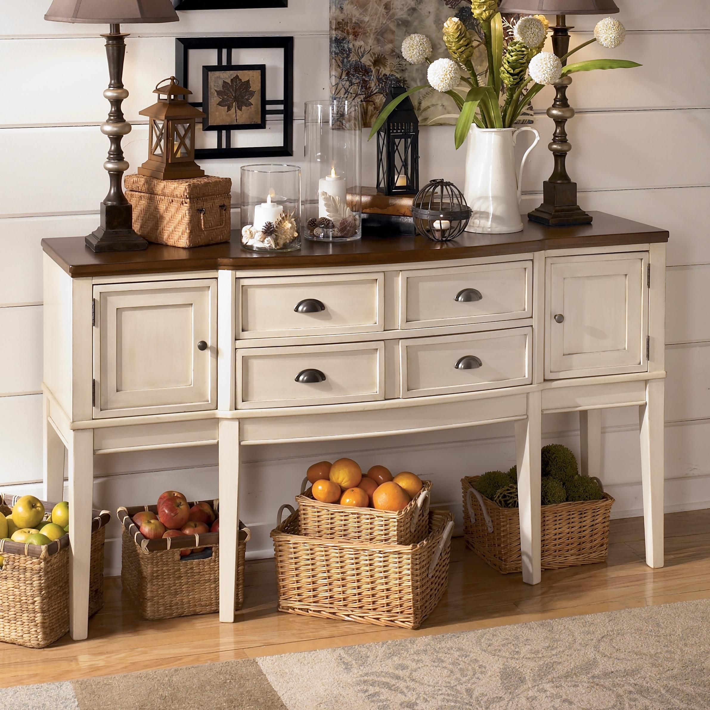 15 Small Dining Room Table Ideas Tips: Whitesburg Two-Tone Breakfront Dining Room Server By