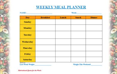 Meal Planner Template  Mediterranean Diet Menu Plan