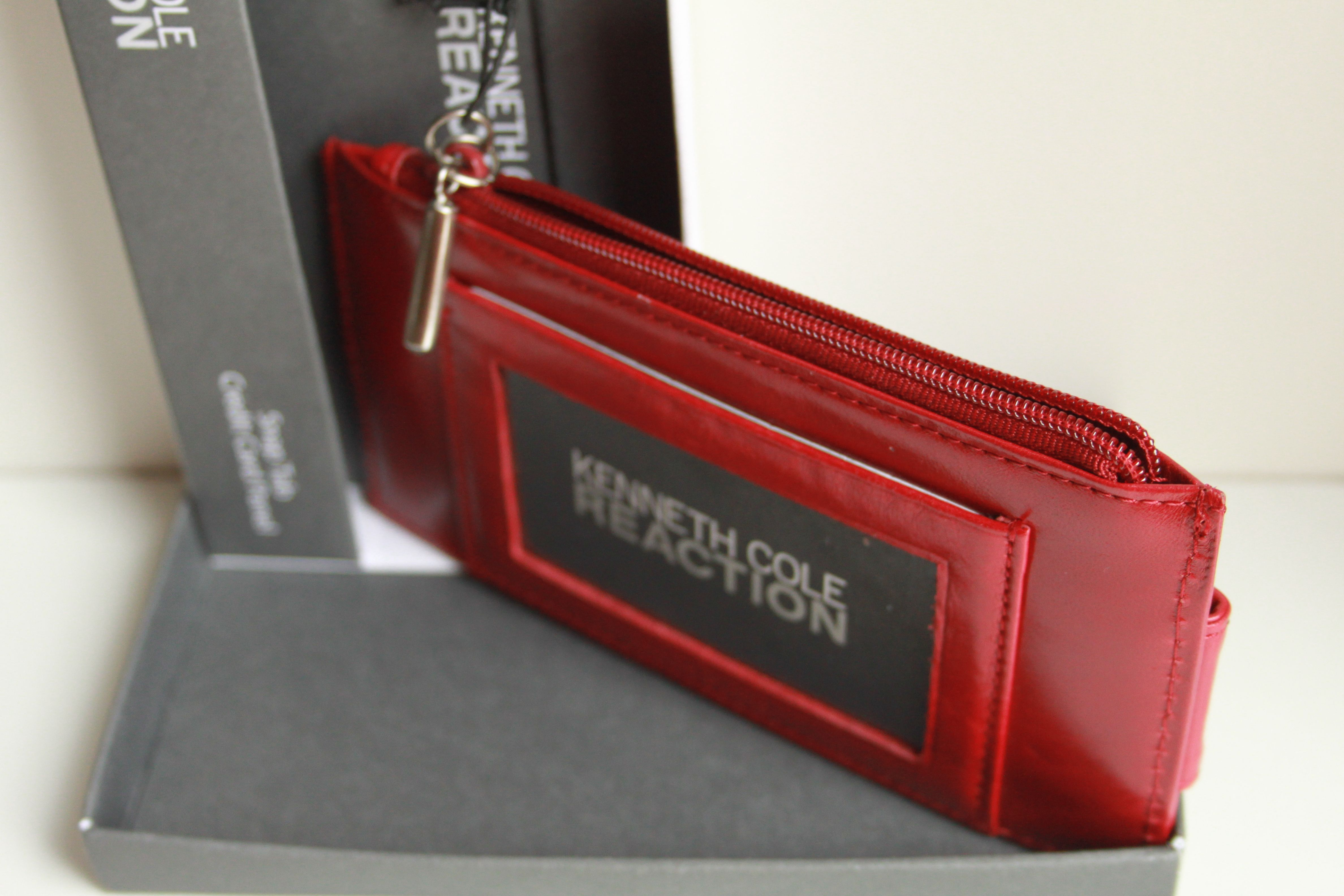 Cole reaction snap tab credit card panel women red