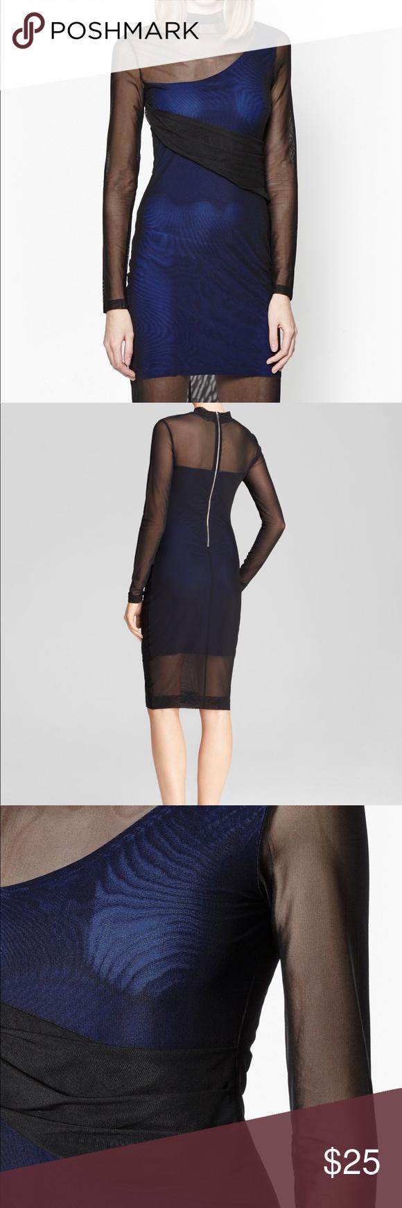 Long sleeve mesh blue lining dress roll neck dress french
