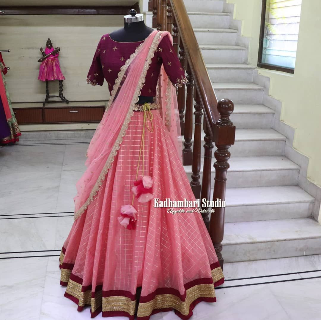 Stunning Blush Pink Color Lehenga And Wine Color Blouse With Net Dupatta Blouse With Hand Embroidery Wor Half Saree Designs Latest Bridal Dresses Lehnga Dress