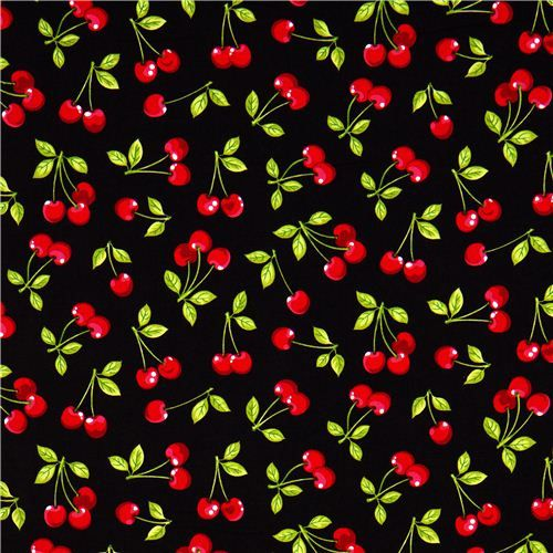 Retro Fabric Robert Kaufman Fruit Basket Cherry Cherries on White Fat Quarter Sewing Fabric Quilt Fabric