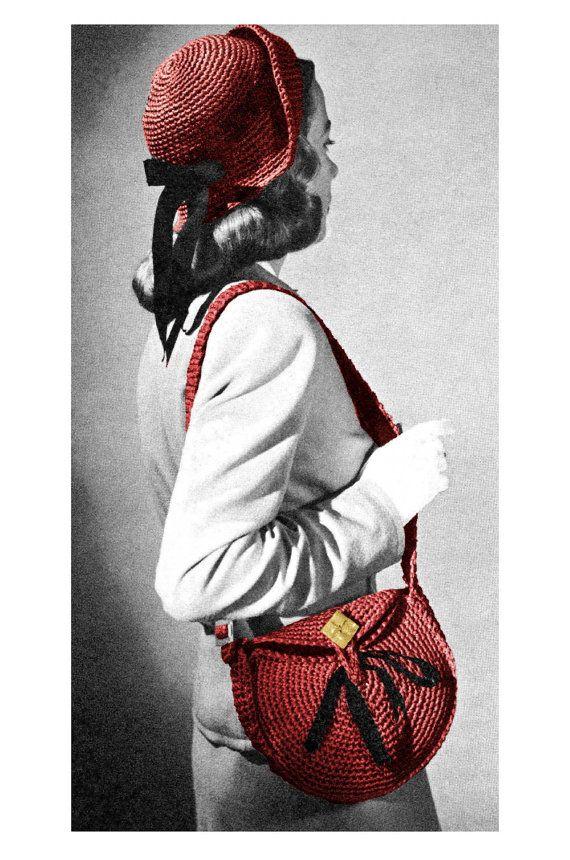 1940s Shoulder Messenger Bag Purse Cloche Hat by 2ndlookvintage ...