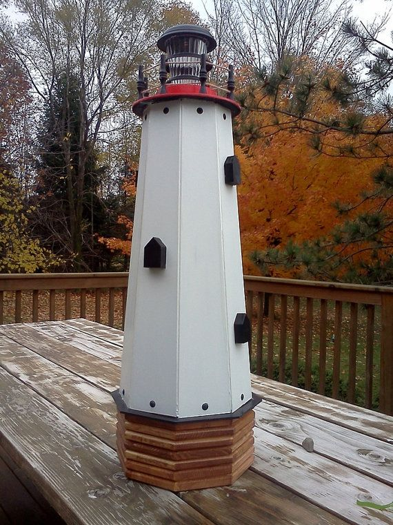 Solar Lighthouse Wooden Decorative Lawn And Garden Yard Outdoor