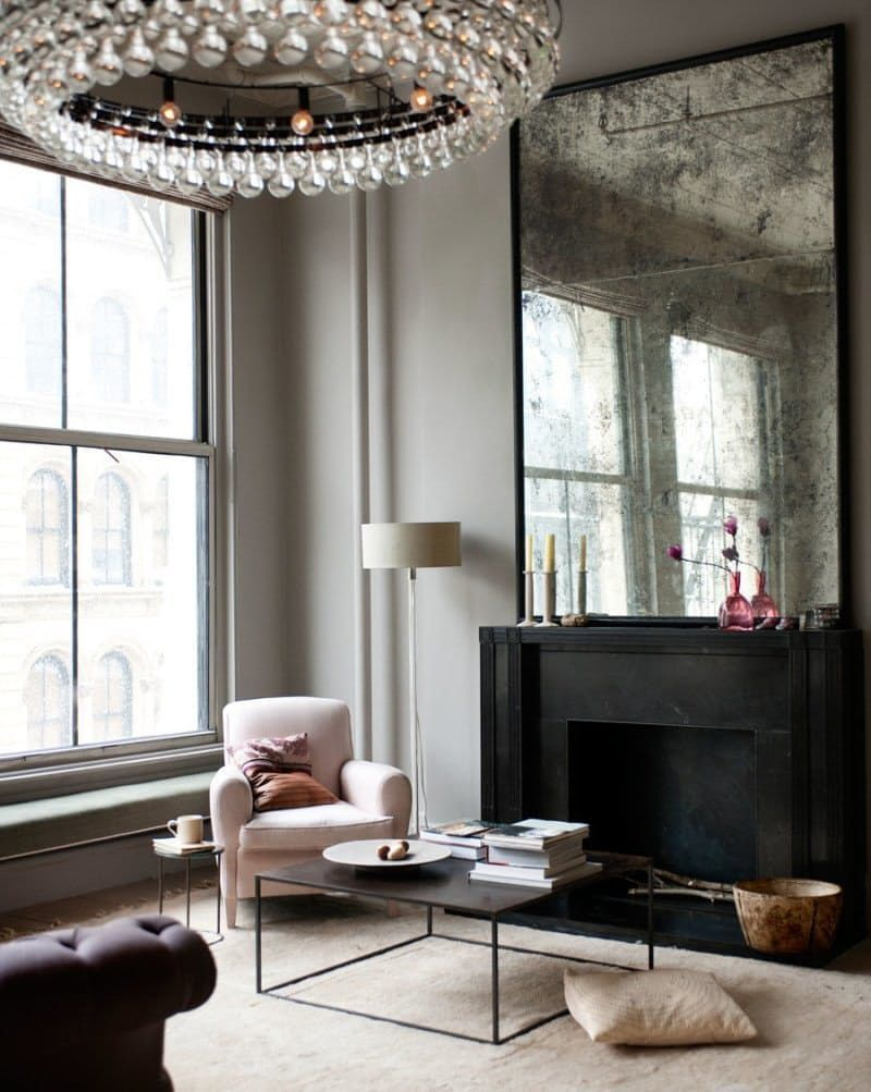 Glam Gray And Taupe Living Room Large Distressed Mirror Poised