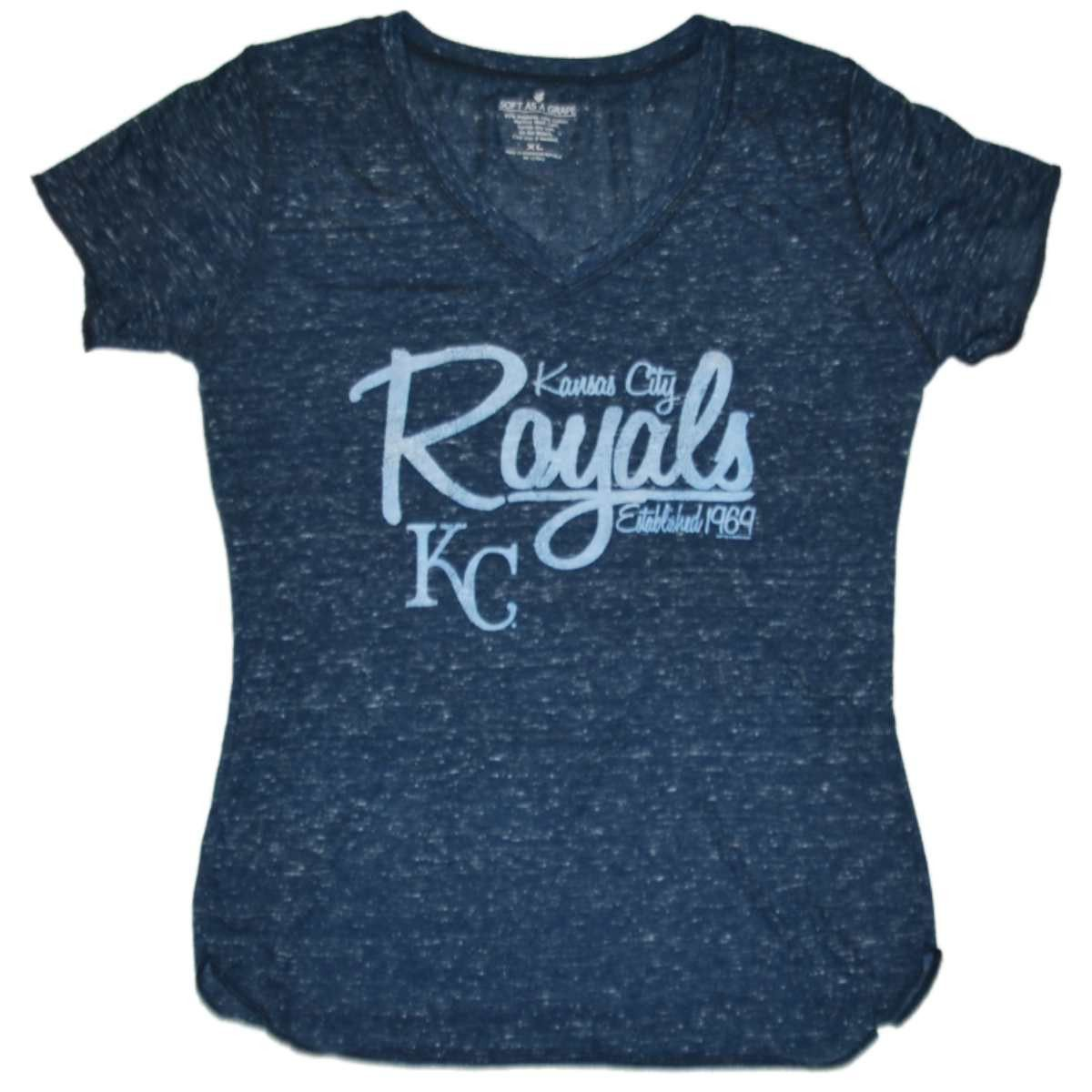 Kansas City Royals SAAG Women Navy Flecked Lightweight V-Neck T-Shirt