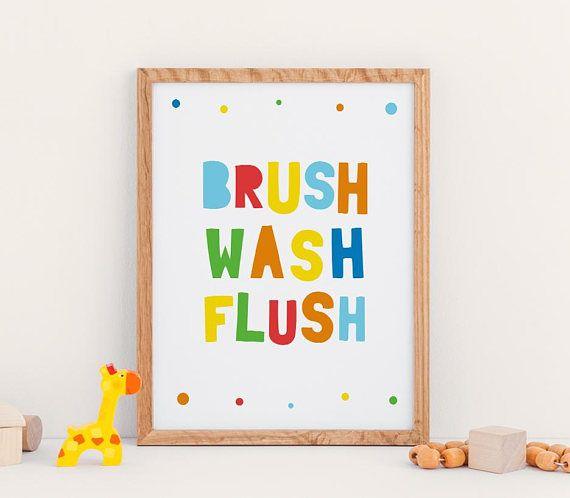 BRUSH WASH FLUSH Kids Bathroom Printable Decor, Educational Wall Art ...