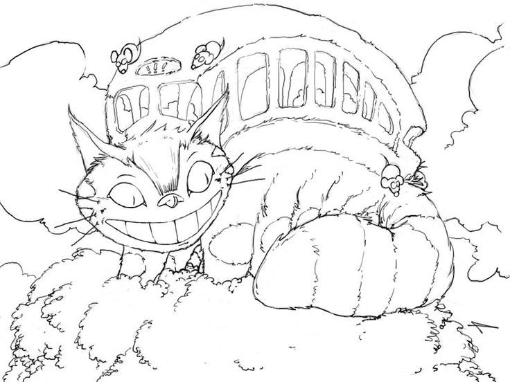 cat bus coloring page | fun with learning | pinterest | cats bus ... - Neighbor Totoro Coloring Pages