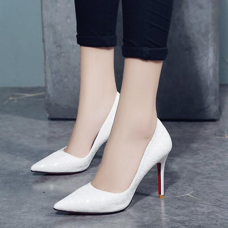 Details about  /Women Pumps Thick Heel Shoes Pointed Toe High Heels Bow Slip on Shoes