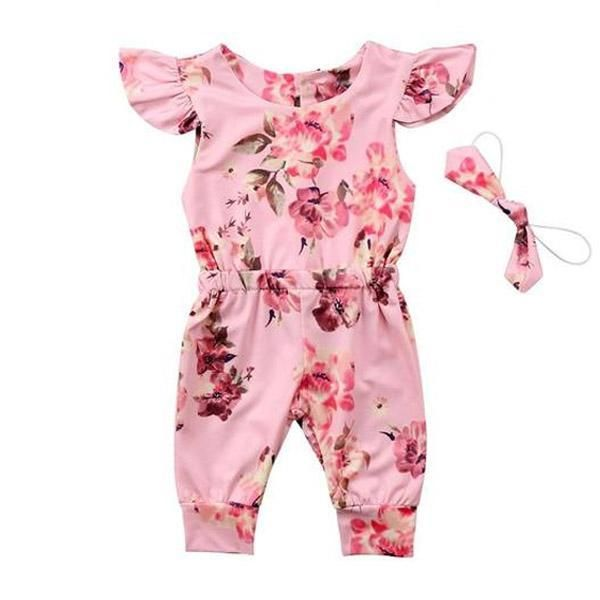 fca928ab4 Floral Ruffled Jumpsuit - The Trendy Toddlers Romper Outfit, Baby Girl  Jumpsuit, Pink Jumpsuit
