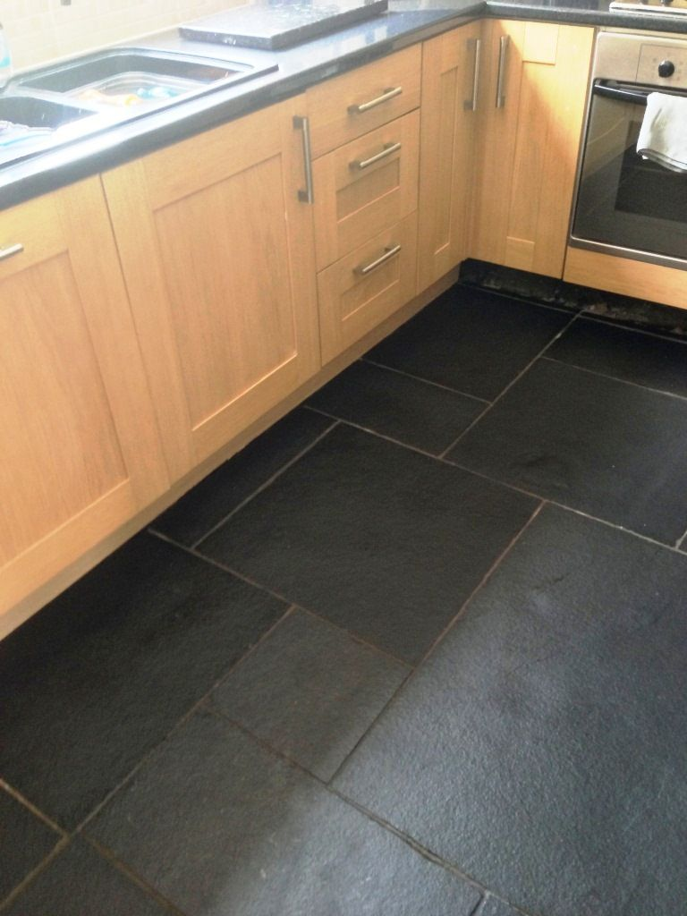 Resolving Installation Issues With A Black Limestone Tiled Floor Black Floor Tiles Black Tiles Kitchen Kitchen Flooring