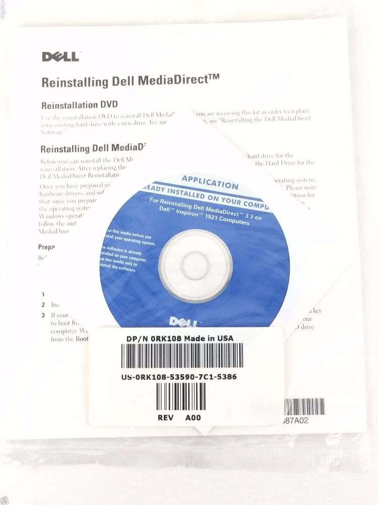 DVD Kit Reinstalling Dell Media Direct 3.3 on Dell Inspiron 1521 Computers New #Dell