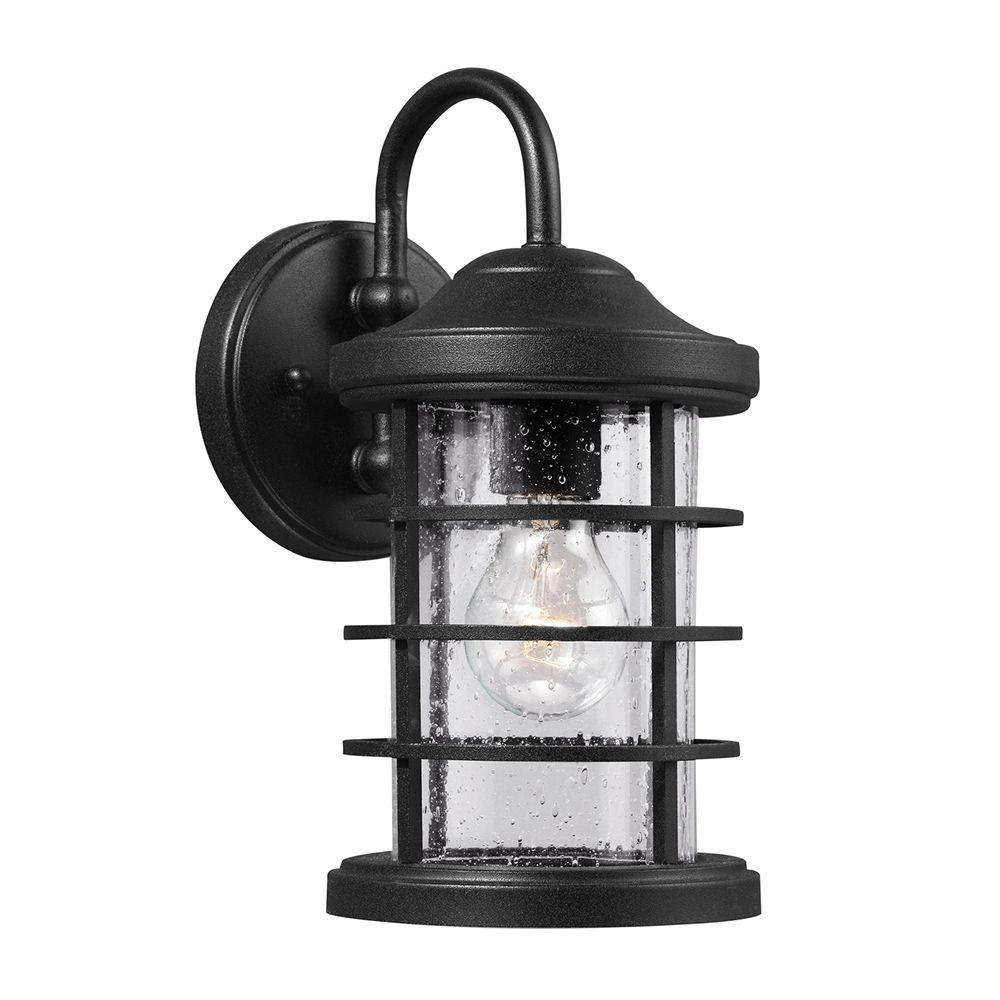 Sea Gull Lighting Sauganash 1 Light Outdoor Black Wall Lantern Sconce With Clear Seeded Glass 8524401 12 Black Outdoor Wall Lights Outdoor Barn Lighting Outdoor Wall Lighting