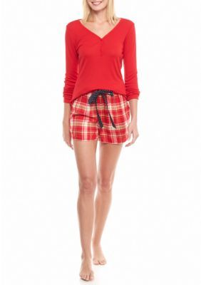 Crown Ivy Red Hots 2 Piece Plaid Short Set 528394992
