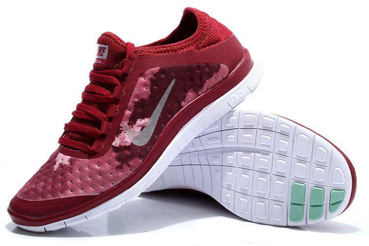 Nike Free 3.0 V7 Womens Wine Red Silver White