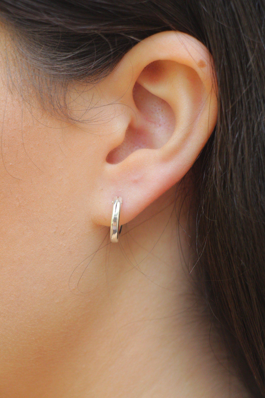 Sterling silver hoop earrings for women minimalist earrings unusual earring hoop huggie hoop earrings hypoallergenic earrings small hoops