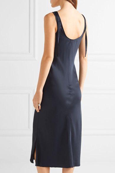 53bb4368d9ad Helmut Lang - Lace-trimmed Satin Midi Dress - Midnight blue - x small