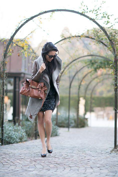 Photo of Winter Sparkle :: Draped coat & Sequin skirt – Wendy's Lookbook