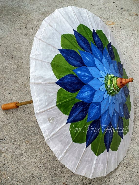 Blue Lotus Flower On White Parasol Parasol One Of A Kind Hand
