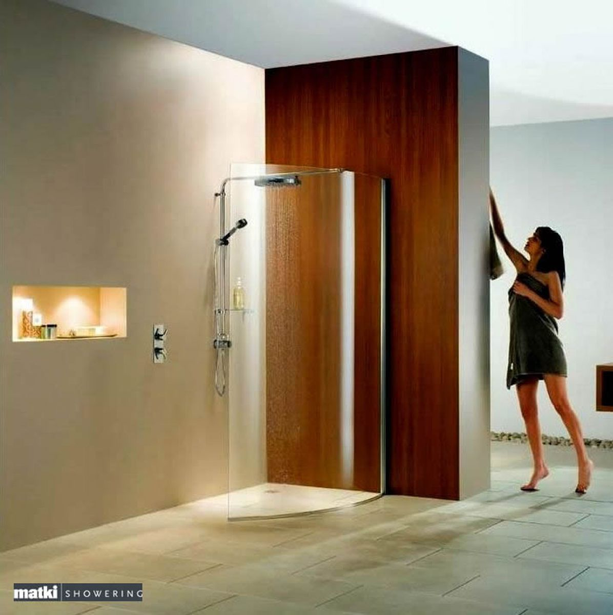 Matki Curved Wet Room Shower Panel with Deluge Pack : UK Bathrooms ...