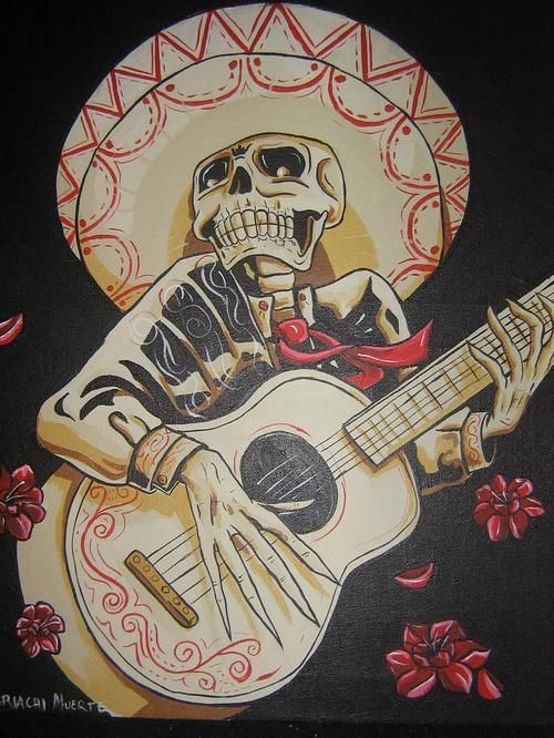 An Awesome Painting Of A Skeleton Playing A Guitar While Wearing His Band Wear And A Sombrero Art Skull Art Lowrider Art