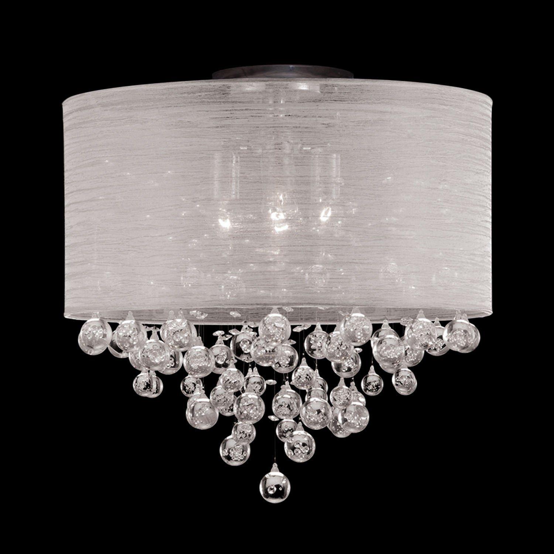 Drum Round Shade 4 Lamp Flush Mount Crystal Balls Ceiling Light