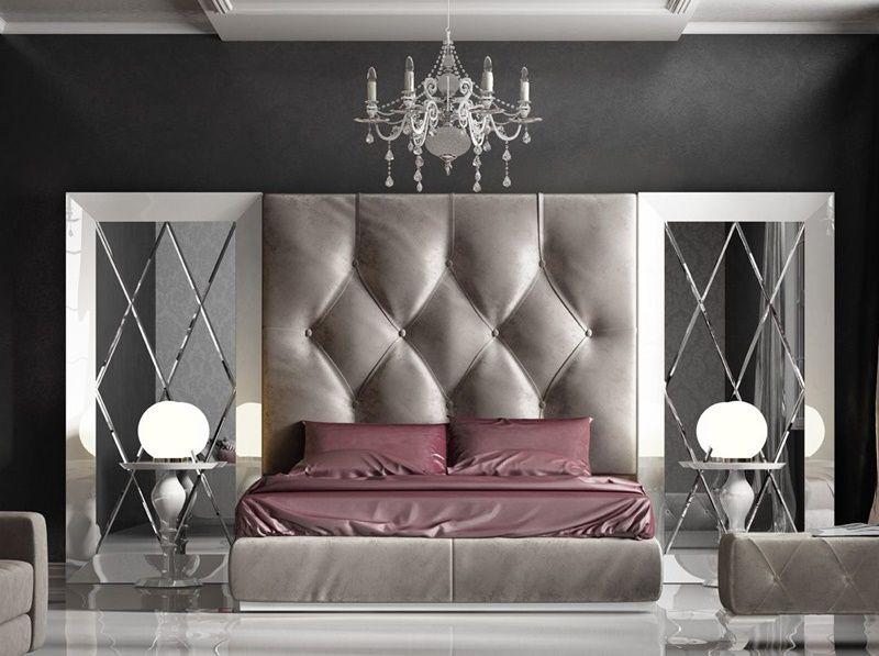 Dormitorio Con Cabecero Tapizado Y Espejos Biselados Mod Klii 119 Dormitorios Diseno De Cama Camas Tapizadas