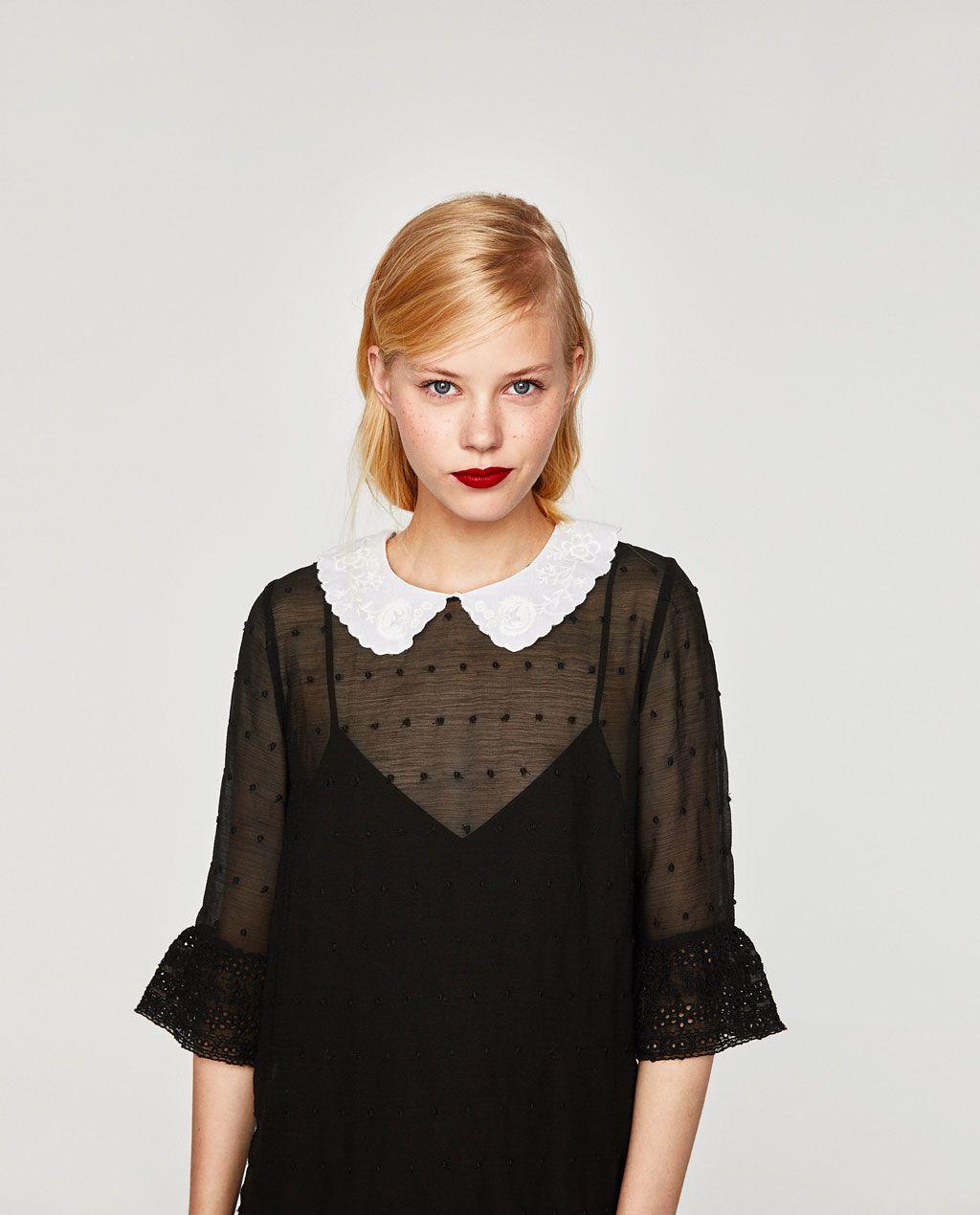 black dress with white collar zara