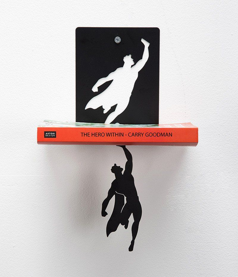 These fun metal bookshelves from Artori Design give the impression that a stealthy superhero is saving your books from certain doom. Mount the shelf bracket to