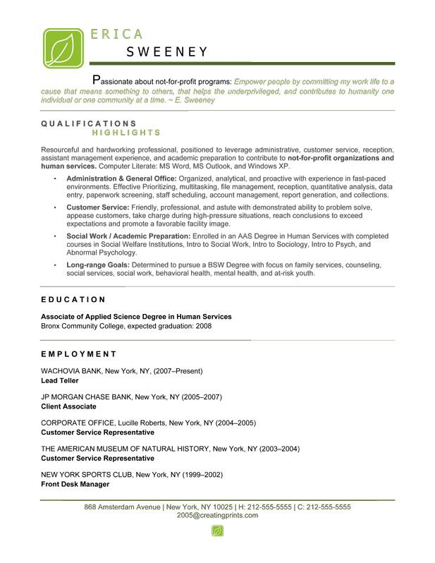 nonprofit professional resume Resume Writing Service to Win - cover letter for non profit