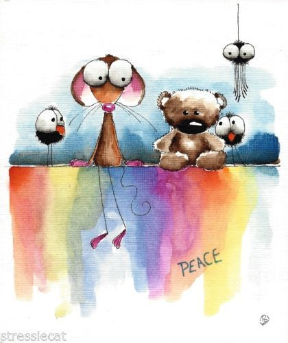 Original Watercolor Folk Art Whimsy Illustration Mouse Teddy Crow Spider Peace | eBay