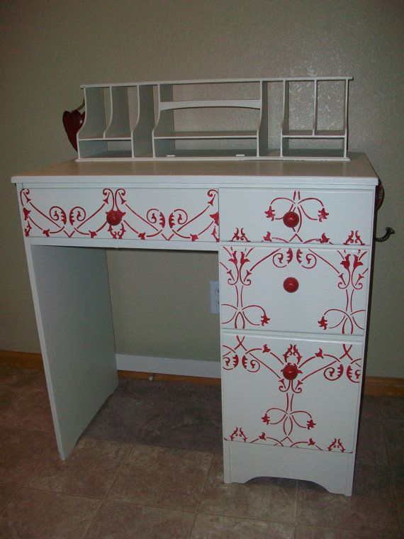 Sweet Red and White Desk by FeatherThyNest on Etsy, $125.00