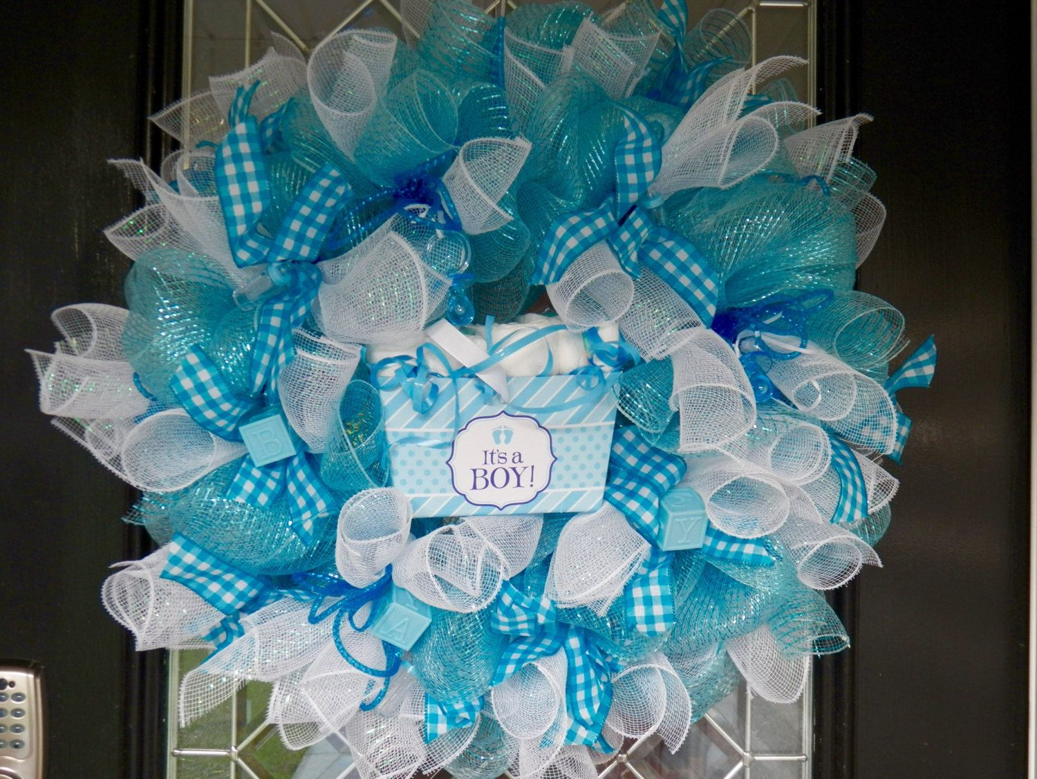 Gift for Baby, New Baby Welcoming Wreath, Hospital Door Hanger, It's A Boy, Baby Shower Decoration by OccasionsBoutique on Etsy