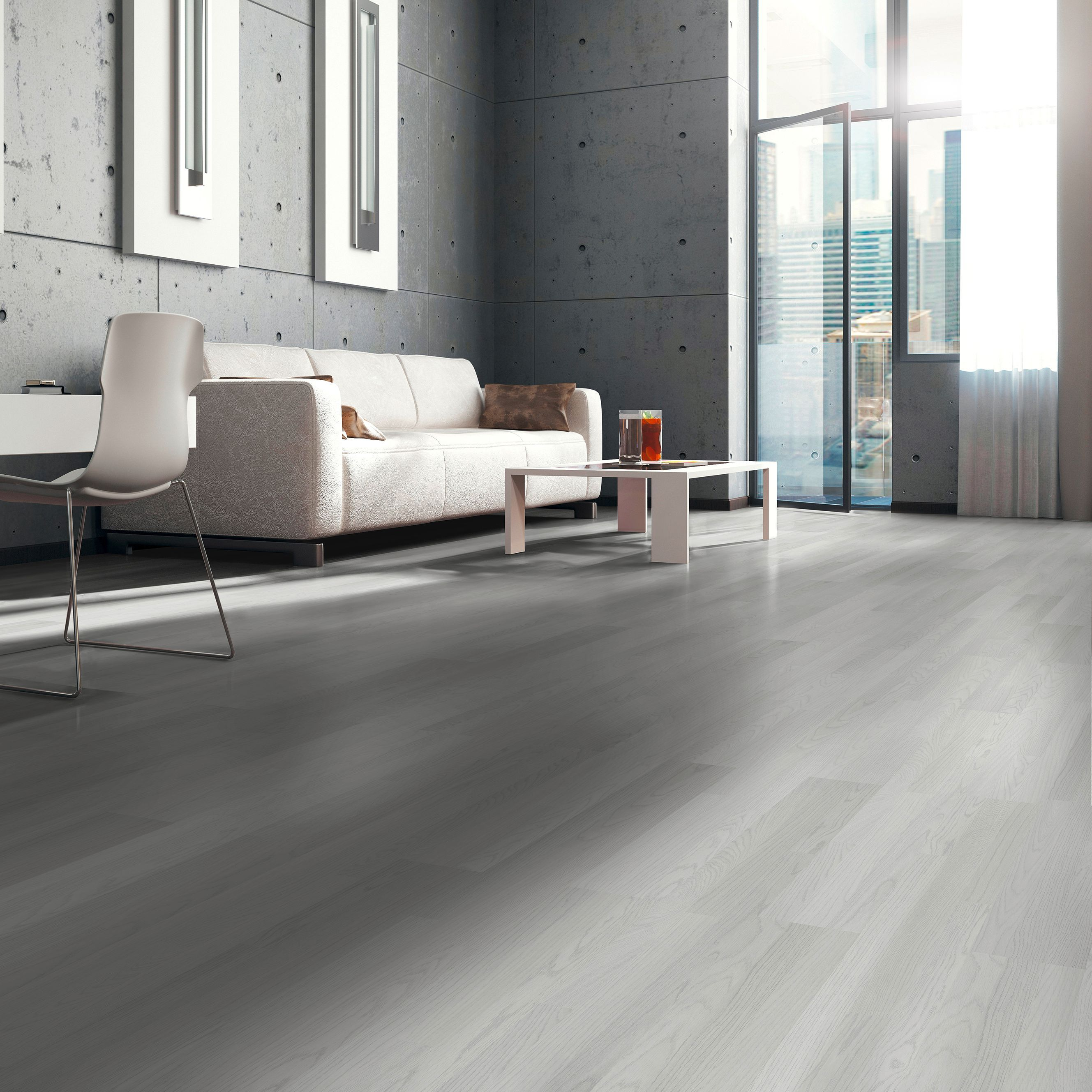 Whitewash oak White wood effect Laminate flooring 3 m ...