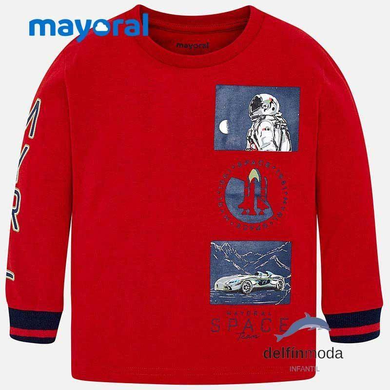 Camiseta De Manga Larga Para Nino Mayoral Space Roja Camisetas