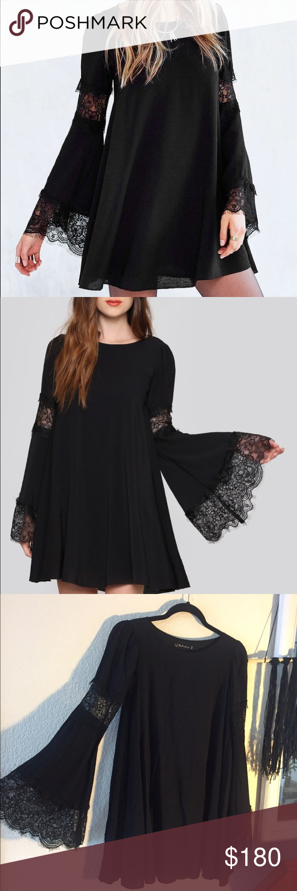 """Le'veon Bell and Sleeve Dress by For Love & Lemons Festival Bell Sleeve Dress- who knew looking this gorgeous could be so comfortable? Tent style mini dress featuring a wide neck, lace insets on the upper arm, and scalloped lace on the cuffs. Oversized fit. Unlined. *polyester lining, 34"""" bust, 31"""" length, 26"""" sleeve, measurements taken from size small. Worn once, no damages, in perfect condition, like new. Retailed for $300, sold out now. For Love and Lemons Dresses Mini"""