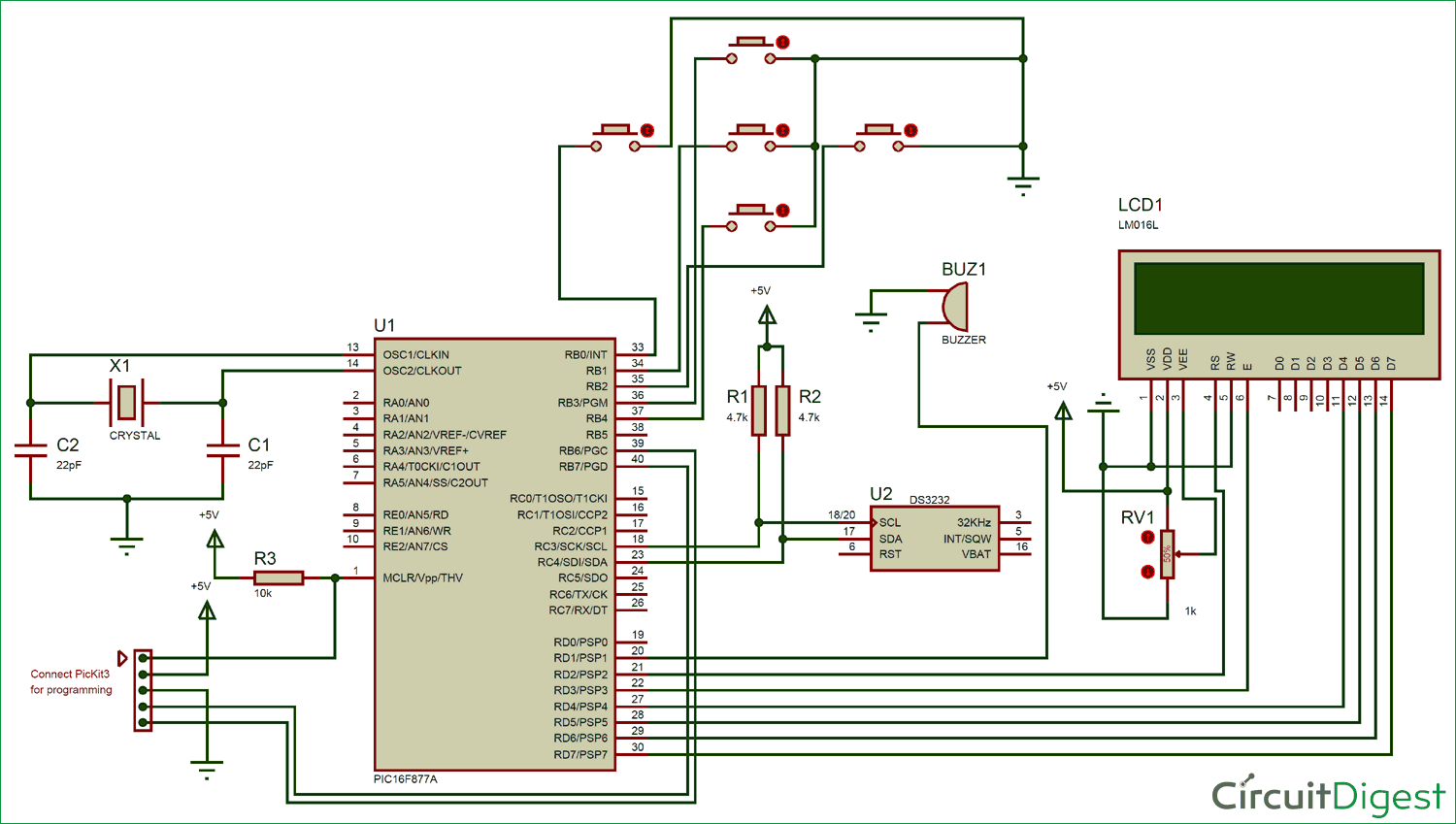 Digital Alarm Clock Circuit Diagram Using Pic Microcontroller Shows The Required 8051