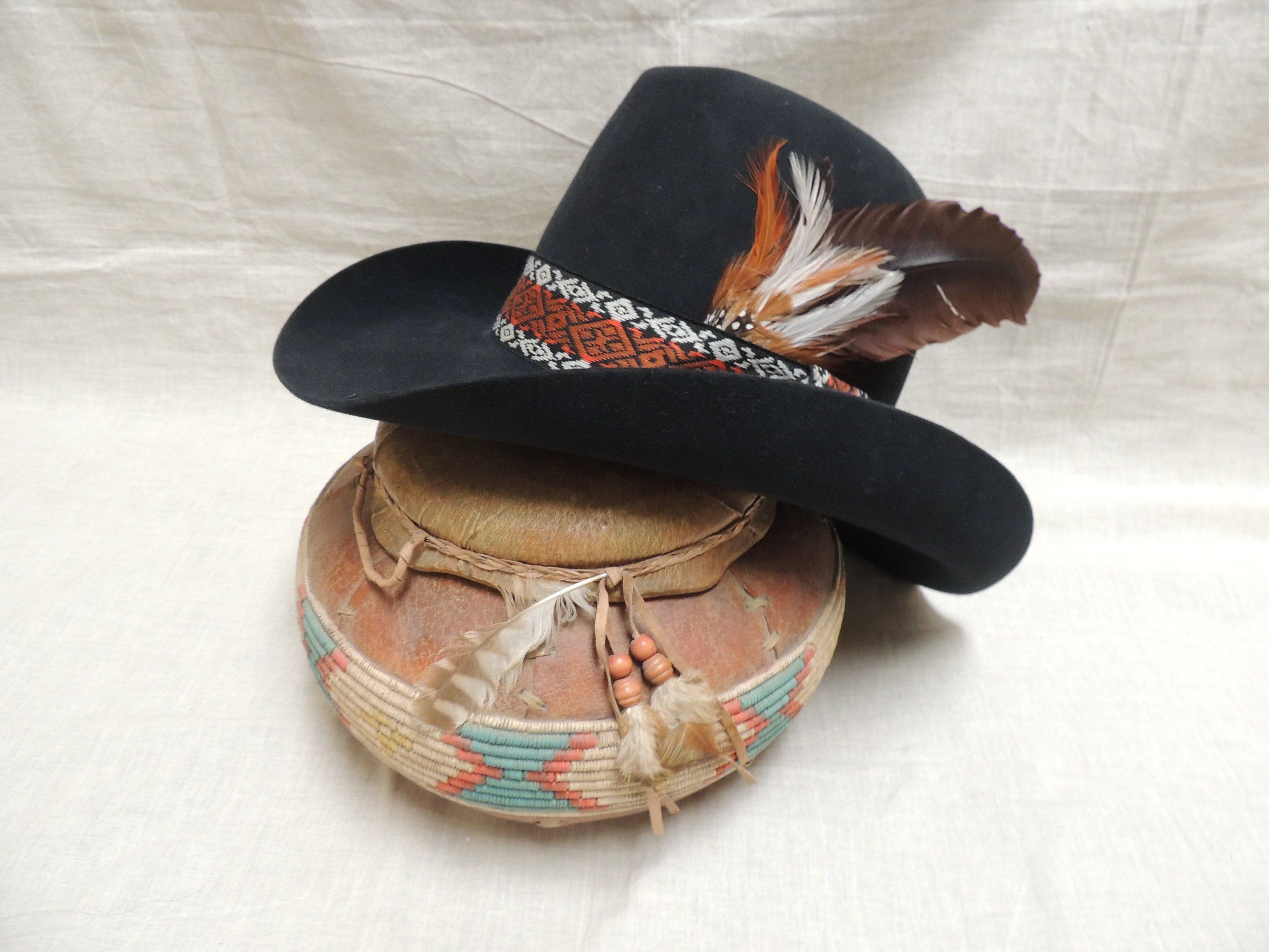 478eae3c Vintage 1960's, 1970's Stetson Cowboy Hat XXXXX Beaver Felt, with Original  JBS Lasso Pin and Hatband with Feathers by TheOwlandtheCrow on Etsy