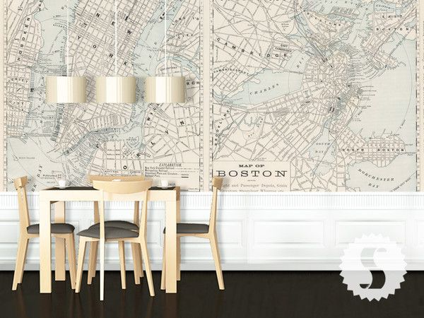 Boston new york map wall mural vintage maps wallpaper for Boston wall mural