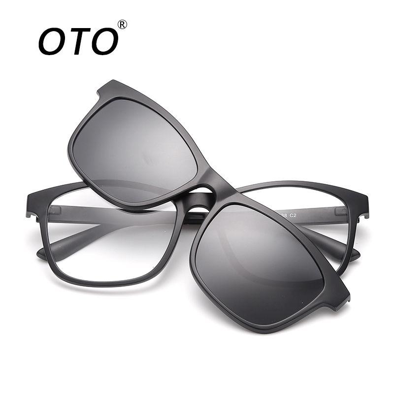 0ab380ded52 OTO Men s Polarized Sunglasses TR90 Frame Magnetic Clip Detachable Glasses  Driving Unisex Retro Sun Glasses UV400