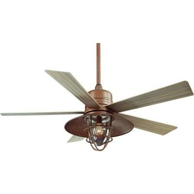 Indoor/Outdoor Rustic Copper Ceiling Fan With Light Kit And Remote Control Part 33