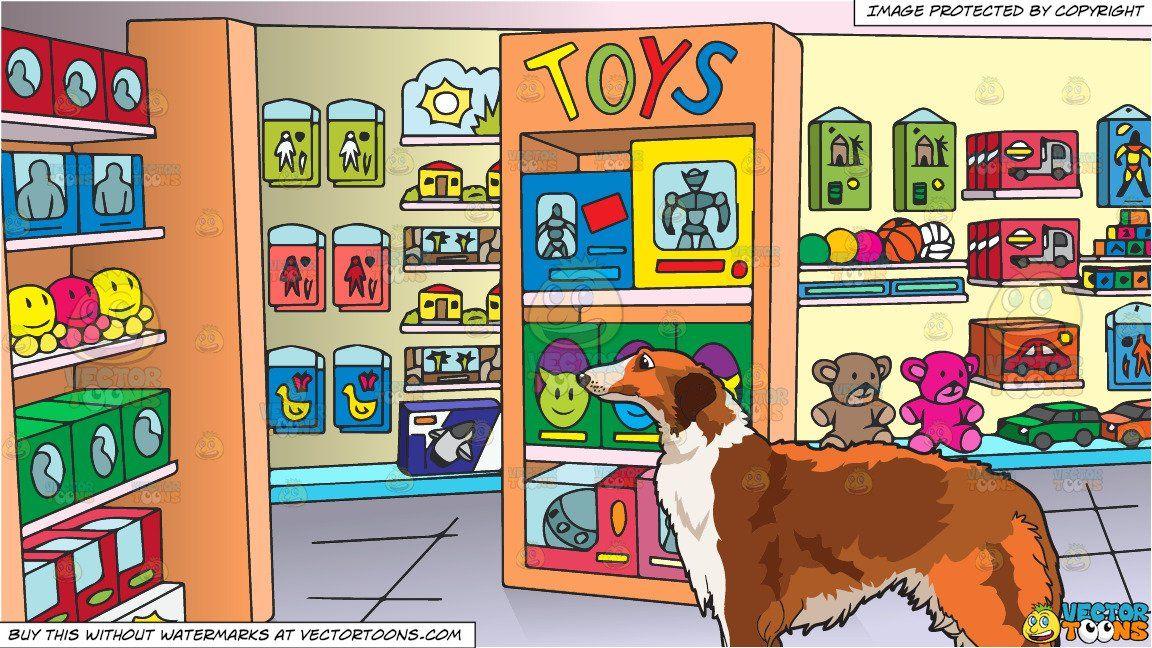 A Borzoi Dog And Inside A Toy Store Background Borzoi Dog
