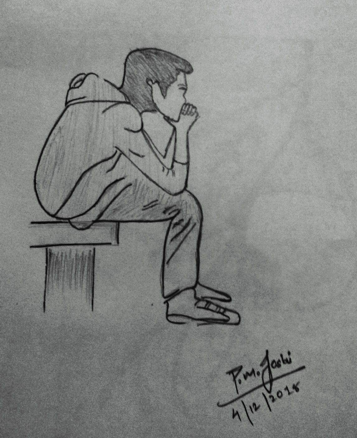 Alone Swag Boy Drawing Black And White