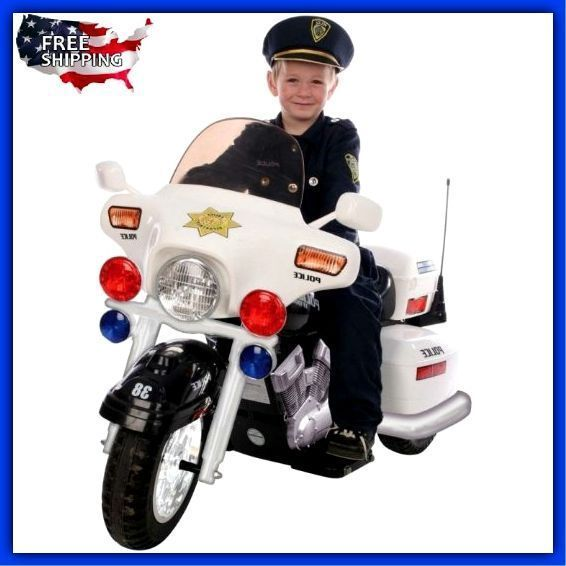 Kids Police Motorcycle Ride On Riding Toys For Boys Electric Bike