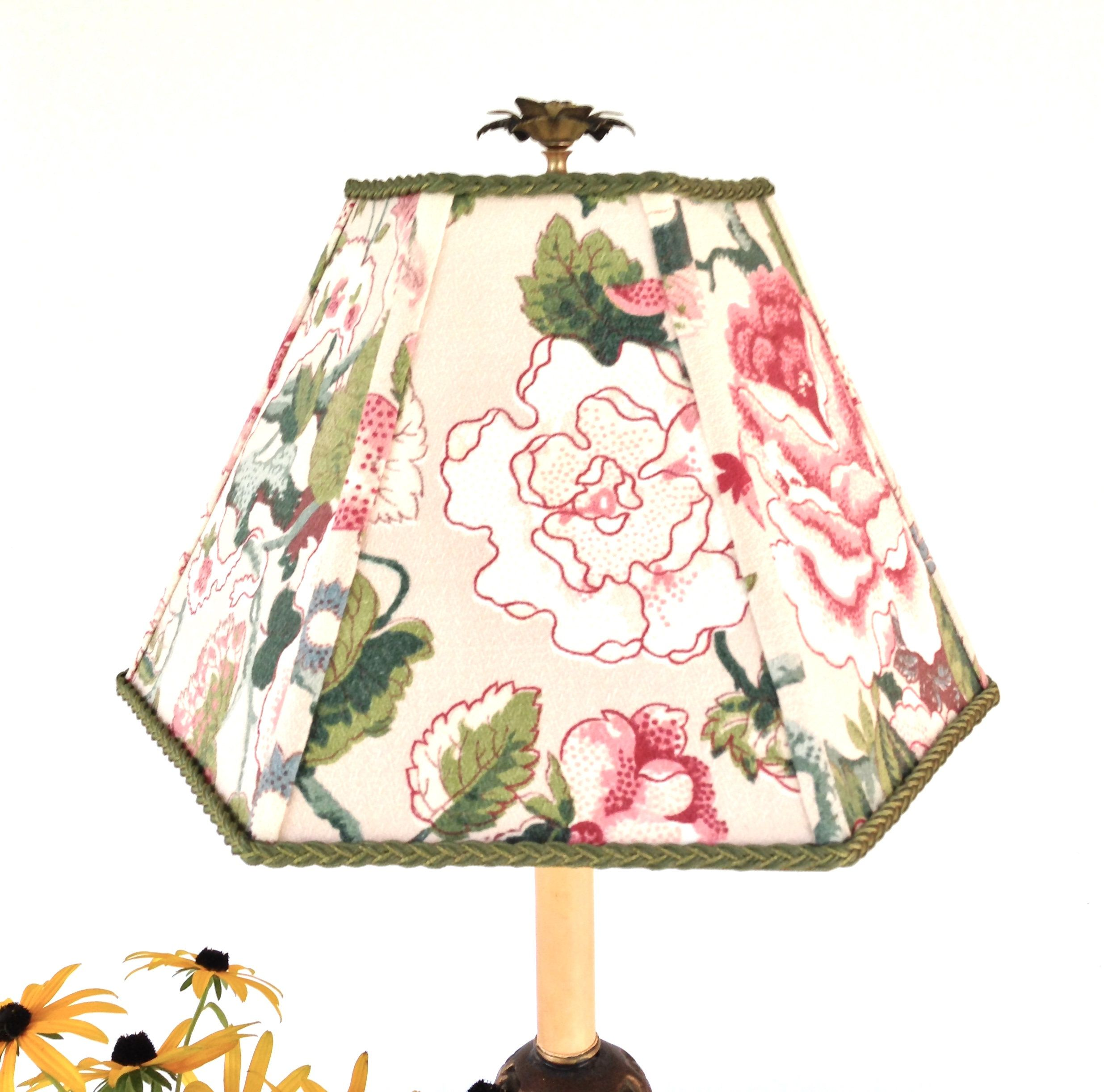 Floral Fabric Lampshade Pink and Green Lamp Shade Hex ...