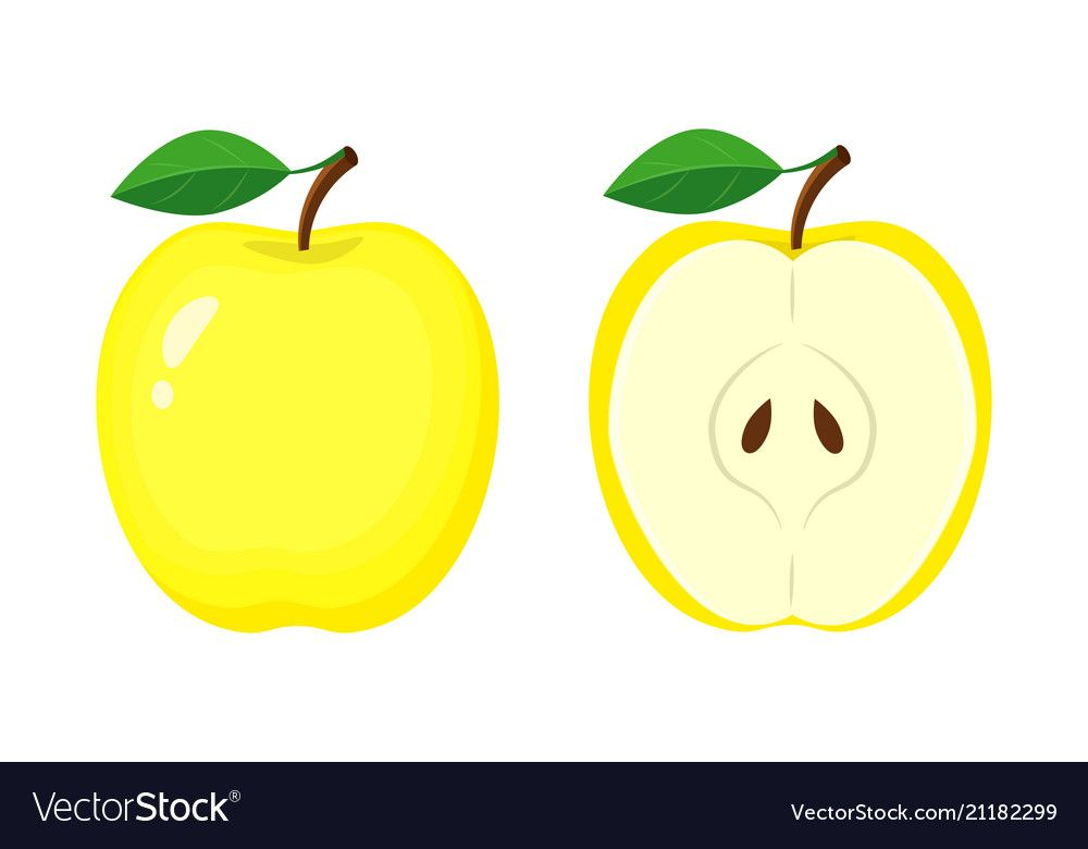 Whole Yellow Apple And Half Apple Slice Vector Illustration Isolated On White Background Download A Free Preview Or Hig Yellow Apple Apple Vector Illustration